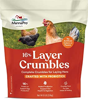 Manna Pro Layer 16% with Probiotic Crumbles | No artifical colors or flavors | 8 LB