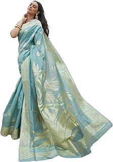 تصميم أزرق للنساء هندي أنيق بنمط بوليوود ناعم كريستال حريري احتفالي زي ساري مع بلوزة قطعة أثرية لضربة 6063