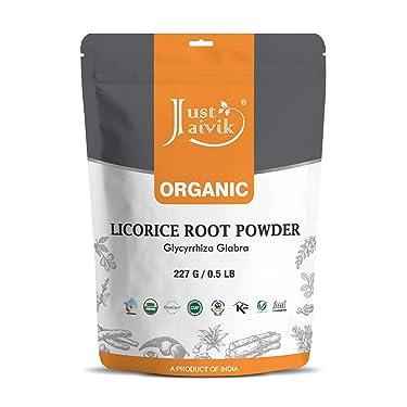 Just Jaivik Polvo de raíz de regaliz 100 % orgánico – Polvo de muleti 8.01oz / 0.5 libras (glicirriza glabra) / Yastimadu en polvo – una hierba certificada orgánicamente USDA