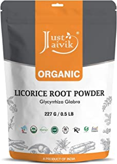 Just Jaivik 100% Organic Licorice Root Powder - Mulethi Powder 227 g / 0.5 LB Pack (Glycyrrhiza Glabra) / Yastimadu Powder...