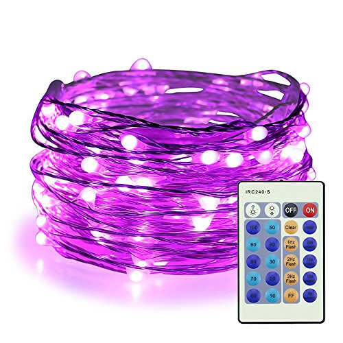 ER CHEN Purple Fairy Lights Plug in, 33ft 100 LED Starry String Lights Dimmable with Remote Control, Waterproof Copper Wire Christmas Decorative Lights for Bedroom, Patio, Garden, Yard, Party