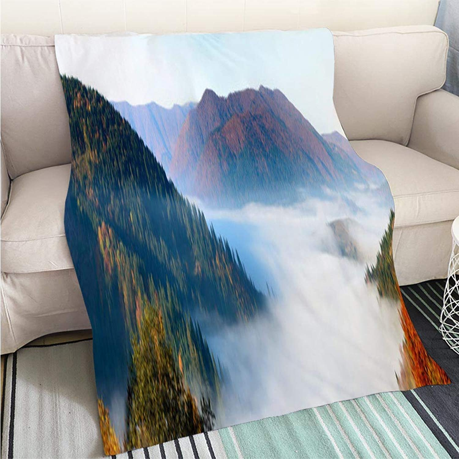 BEICICI Art Design Photos Cool Quilt Autumn Landscape with Fog in The Mountains Fir Forest on The Hills Carpathians Ukraine Europe Art Blanket as Bedspread gold White Bed or Couch
