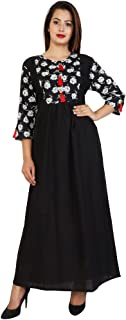 fc0962dd68 BLUEPOCKET Kurti Kurta for women (Cotton, Straight, Floor Length, Solid  Black with