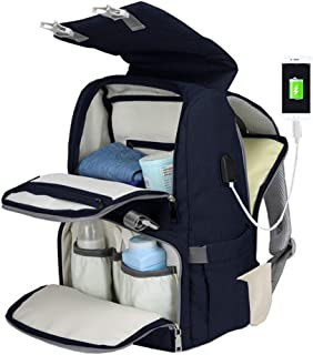 Diaper Bag Backpack,ZIRUNG Multifunction Waterproof Travel Backpack Maternity Baby Nappy Bags for Mom/Dad,Large Capacity,Stroller Straps,Changing Pad,Durable and Stylish,with USB Charging Port