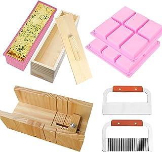RETON Paquet de 8 Ensemble d'outils de Coupe pour Fabrication de Savon, 1 x Moule de Coupe en Bois, 1 x Moule à Pain en Si...