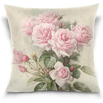 PL128 TRENDIN 18 X 18 Vintage Flowers Love Linen Throw Pillow Case Cushion Cover Home Decor