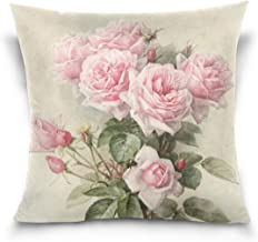 ZOEO Square Decorative Throw Pillow Case Cushion Cover,Vintage Shabby Chic Pink Rose Floral,Soft Pillowcase 18x18 inch