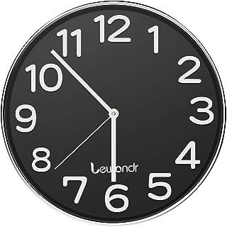 Lewondr Reloj de Pared, Reloj Silencioso Redondo de 12 Pulgadas, Reloj Moderno Que sin Tic-TAC, Funciona con Pilas(No incluida) para Hogar, Sala de Estar, el Aula - Negro