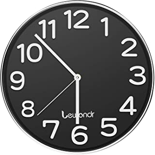 Lewondr Wall Clock, 12 Inch Round Silent Decorative Clock, Battery Operated Non-Ticking Modern Clock with Big 3D Number for Home, Living Room, Classroom - Black