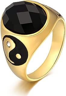 Anillo para Hombre Oval Negro Circonita Yin Yang 18MM Anillo de Aniversario