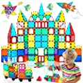 HOMOFY Magnetic Tiles Oversize 3D Building Blocks 100PCS STEM Educational Magnet Toy Set for Kids Creativity&Inspiration Building Construction Learning Gifts for 3 4 5 6 Year Old Boys Girls