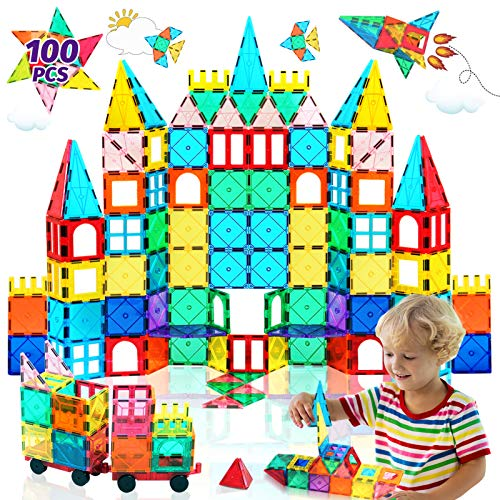 HOMOFY Oversize 3D Building Blocks Magnetic Tiles 100PCS STEM Educational Magnet Toy Set for Kids Inspiration Building Construction Learning Gifts for 3 4 5 6 Year Old Boys Girls