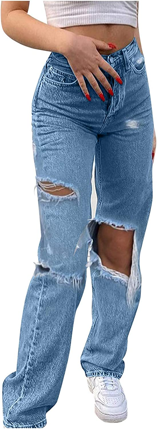 MASZONE High Waisted Jeans for Women Y2K Fashion Stretch Straight Denim Pants Baggy Wide Leg Ripped Jeans Streetwear