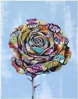 WANGJRU 5D DIY Diamond Painting Graffiti Rose Embroidery Full Square Drill Cross Stitch Mosaic Gift Handmade Wall Art Home...