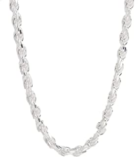 "Sterling Silver Diamond Cut Rope Chain Necklace- 1.5MM-7.5MM -Made In Italy - 7""-30"""
