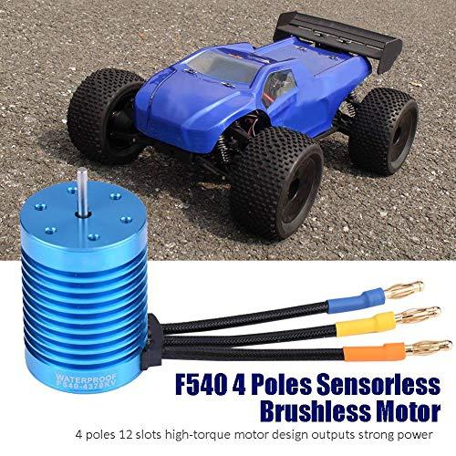 Dilwe RC Auto Motor, F540 4 Pole 3000KV / 4370KV Sensorloser Brushless-Motor - 4mm Bananestecker für 1/10 1/12 RC Car-Zubehörteile( 4370KV)