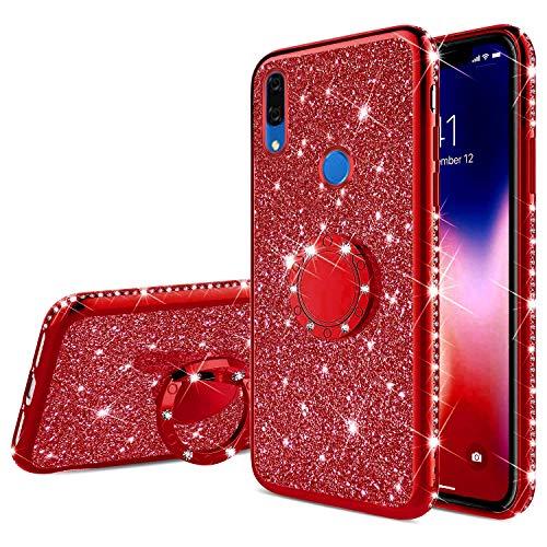 Saceebe Compatible avec Huawei P Smart Z Coque Transparente Glitter Bling Paillette Diamant Brillant Strass Housse Silicone TPU Etui avec Anneau Support Bague Anti-Choc,Rouge