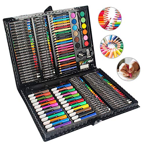 MIAOKE 168 Pieces Art Set, Drawing Box for Children - Colored Pencils, Crayons, Oil Pasttels, Watercolor Cakes, Markers, Eeraser, Pencil Sharpener, HB Pencil, 18-Sheet Sketch pad