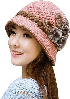 HGWXX7 Women Lady Winter Warm Crochet Knitted Bucket Hats Flowers Decorated Hat