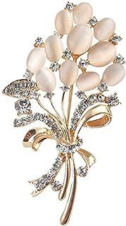 Reizteko Floral Brooch Wedding Bouquets with Beautiful Created Cat's Eye Opal for Elegant Women - Light Beige (Beige)