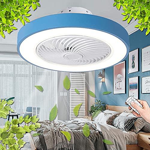 Ventilador De Techo LED Con Luz De Techo Regulable Moderna Con Control Remoto Del Ventilador Ventilador De 3 Velocidades Lámpara De Techo Para Dormitorio Sala De Estar Sala De Niños Comedor Bar (A)
