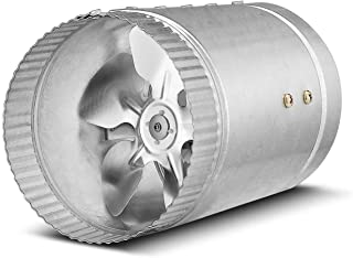 Flexzion Inline Duct Fan Booster - (6 Inch, 280 CFM) Exhaust Blower Vent Air Extractor Ventilation System HVAC Low Noise Quiet Operation with Aluminum Blade & Grounded Power Cord