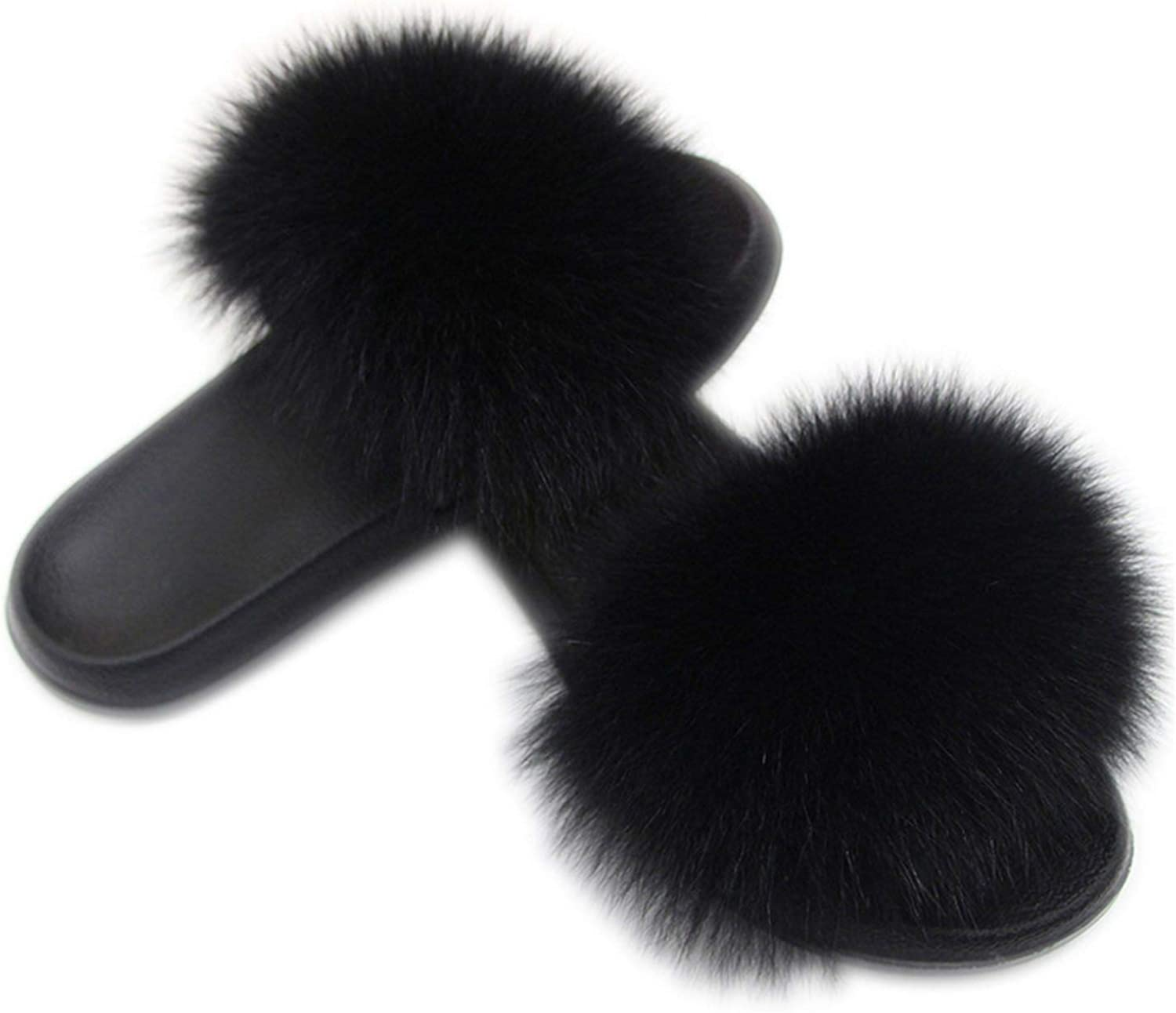 SmarketL High end Women's Fox Hair Slippers Winter Warm Furry Ladies Plush Fashion Indoor Solid Big Size Wholesale 36-45