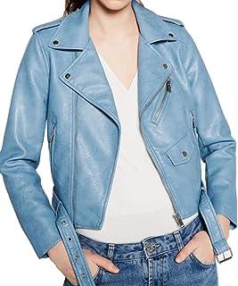 c8f732b480 Giacca di Pelle Donna Eleganti Fashion Finta Pelle Giubbotto Moto Manica  Lunga Bavero con Cerniera Giovane