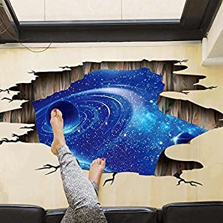 Amaonm Creative 3D Blue Vastness Universe Sky Planet Space Wall Decals Mural Removable DIY Wall Stickers Decor for Home Walls Floor Ceiling Kids Nursery Room Boy Girls Bedroom Bathroom Living Room