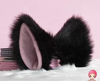 Hot Sweet Lovely Anime Lolita Cosplay Fancy Neko Cat Ears Hair Clip Black with Pink Inside