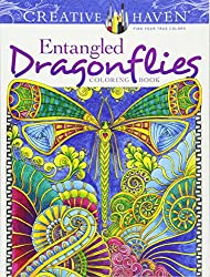 zentangle inspired coloring entangled dragonflies
