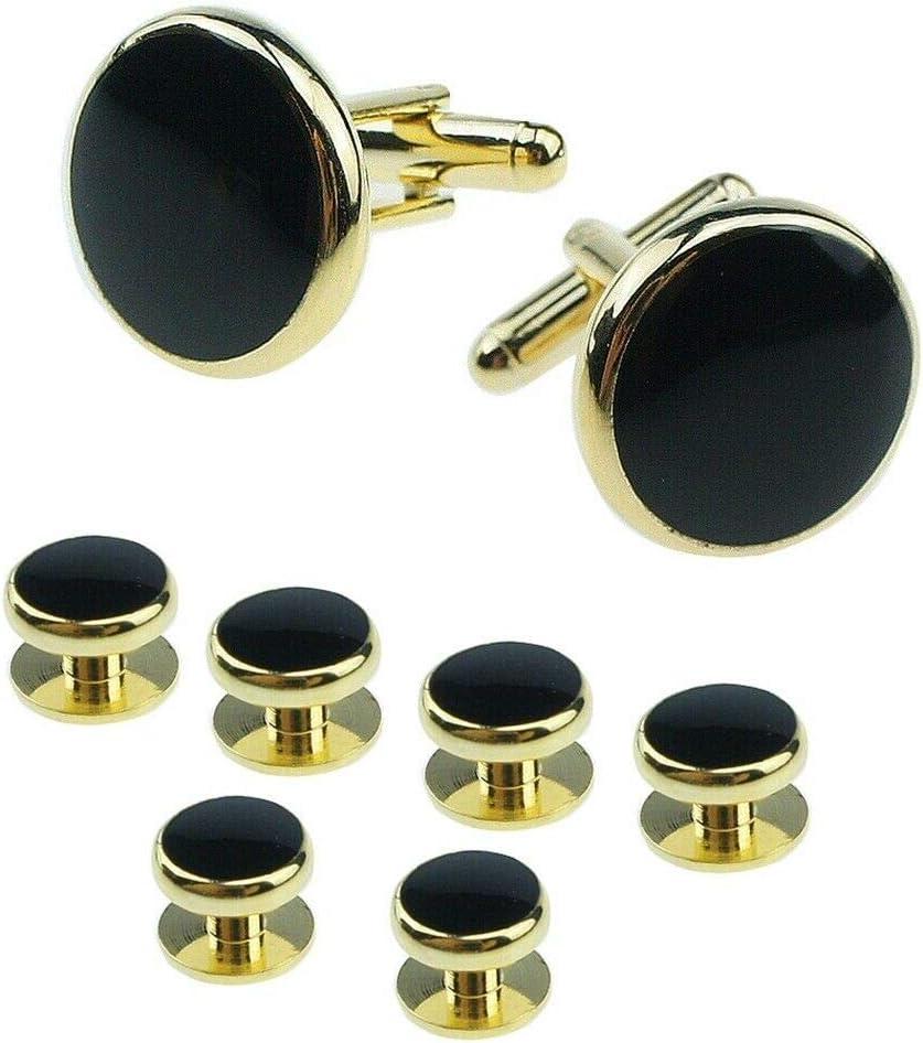 8Pcs/Set Mens Shirt Tuxedo Cufflinks Wedding Party Buttons Cuff Links Studs Black Gold Plated