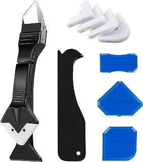Caulking Tool, Caulk Remover& Glass Glue Angle Scraper, 3 in 1 Silicone Caulking Tool Kit - Caulk...