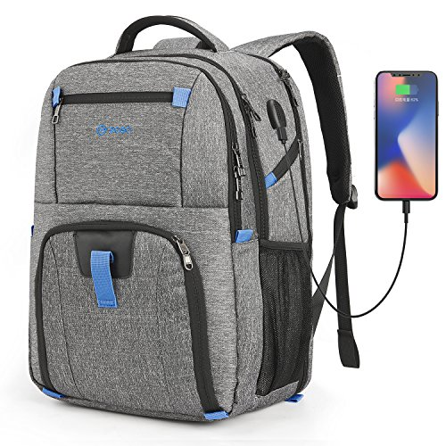 POSO Laptop Travel Backpack 17.3 Inch Computer Bag with USB Port Water-Resistant Business Rucksack Hiking Knapsack Multi-Compartment Men Backpack for Dell Alienware Series/HP/Lenovo/Acer (Grey)