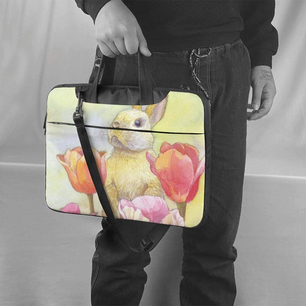14 Inch Notebook Sleeve Carrying Case with Trolley Belt for Lenovo Acer Asus Dell Lenovo Hp Samsung Ultrabook Chromebook Bunny Tulip Laptop Shoulder Messenger Bag