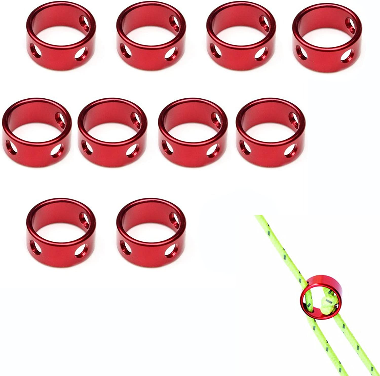 AVESON Pack of 10 Aluminum Guyline Cord Adjuster Tent Tensioners Wind Rope Adjuster Buckle for Tent Hiking Camping Backpacking Outdoor Activity, Red
