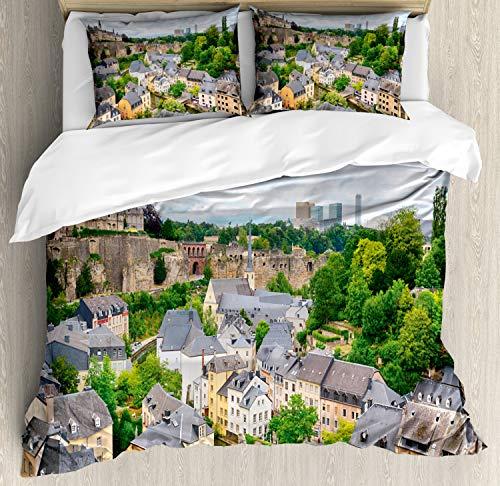 ABAKUHAUS Landschap Dekbedovertrekset, Oude Stad Luxemburg, Decoratieve 3-delige Bedset met 2 Sierslopen, 230 cm x 220 cm, Veelkleurig