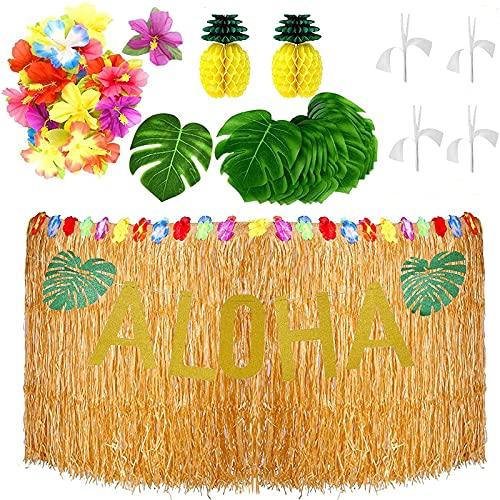 Decoraciones de fiesta hawaianas, 62 piezas hawaianas tropicales Luau Decoración de fiesta con pasto Luau Falda de mesa dorada con purpurina Aloha Banner Tropical hojas de palmera...