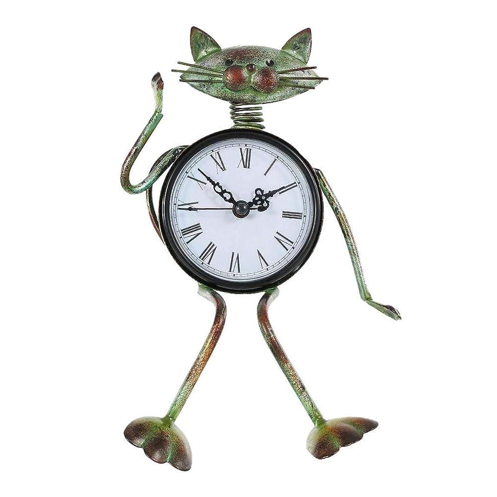 Cherry-Lee Vintage Metal Cat Clock Desk Clock, Small Cat Desk Clock Handmad Cat Figurine - Decorative Table Animal Clock for Living Room, Kitchen, Office & Home Décor