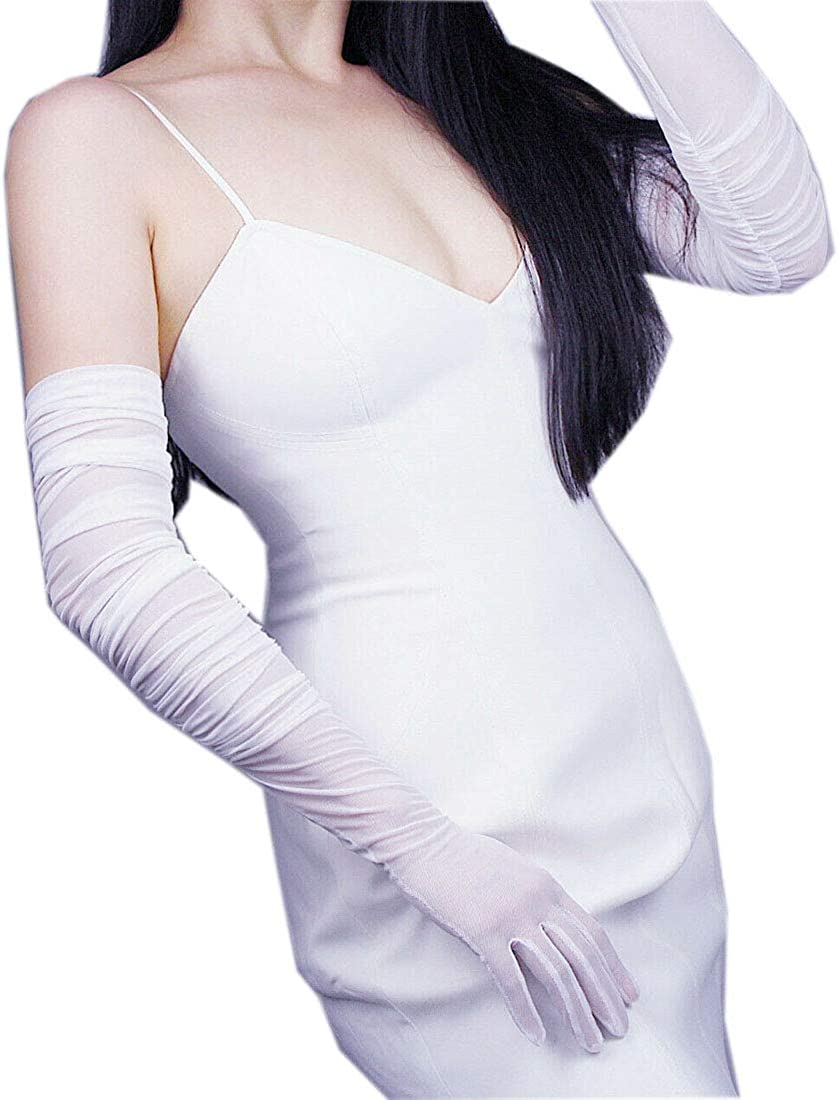 RUCHED Tulle Long Gloves Stretchy Lace Nylon Semi Sheer TECH Touchscreen Black White