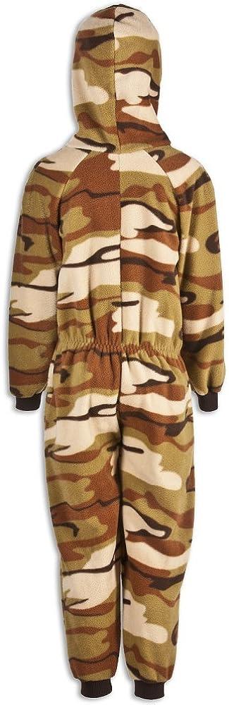CAMILLE Kinder Unisex-Schlafoverall Braun mit Camouflage-Muster
