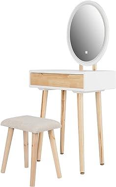 ELECWISH Coiffeuse Blanche avec lumières LED Ensemble de Table de Maquillage Miroir avec Miroir à luminosité réglable, Tabour