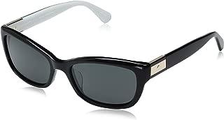 Women's Marilee/p/s MARILPS Polarized Rectangular Sunglasses, BLACK IVORY/GRAY POLARIZED, 53 mm