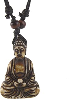 HZMAN Vintage Tibetan Amitabha Buddha Pendant Prayer Buddhist Necklace Hemp Rop Chaine
