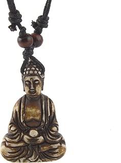 Vintage Tibetan Amitabha Buddha Pendant Prayer Buddhist Necklace Hemp Rop Chaine
