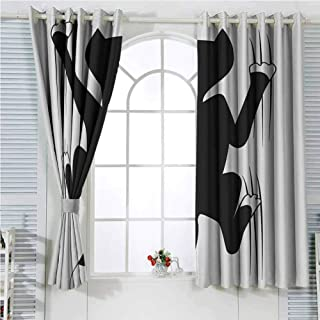hengshu Modern Light Blocking Curtains for Living Room Cat Scratching The Wall Cute Animal Fun Kitty Pet Humor Artistic Illustration Bedroom Curtains Decor W72 x L107 Inch Dark Green White