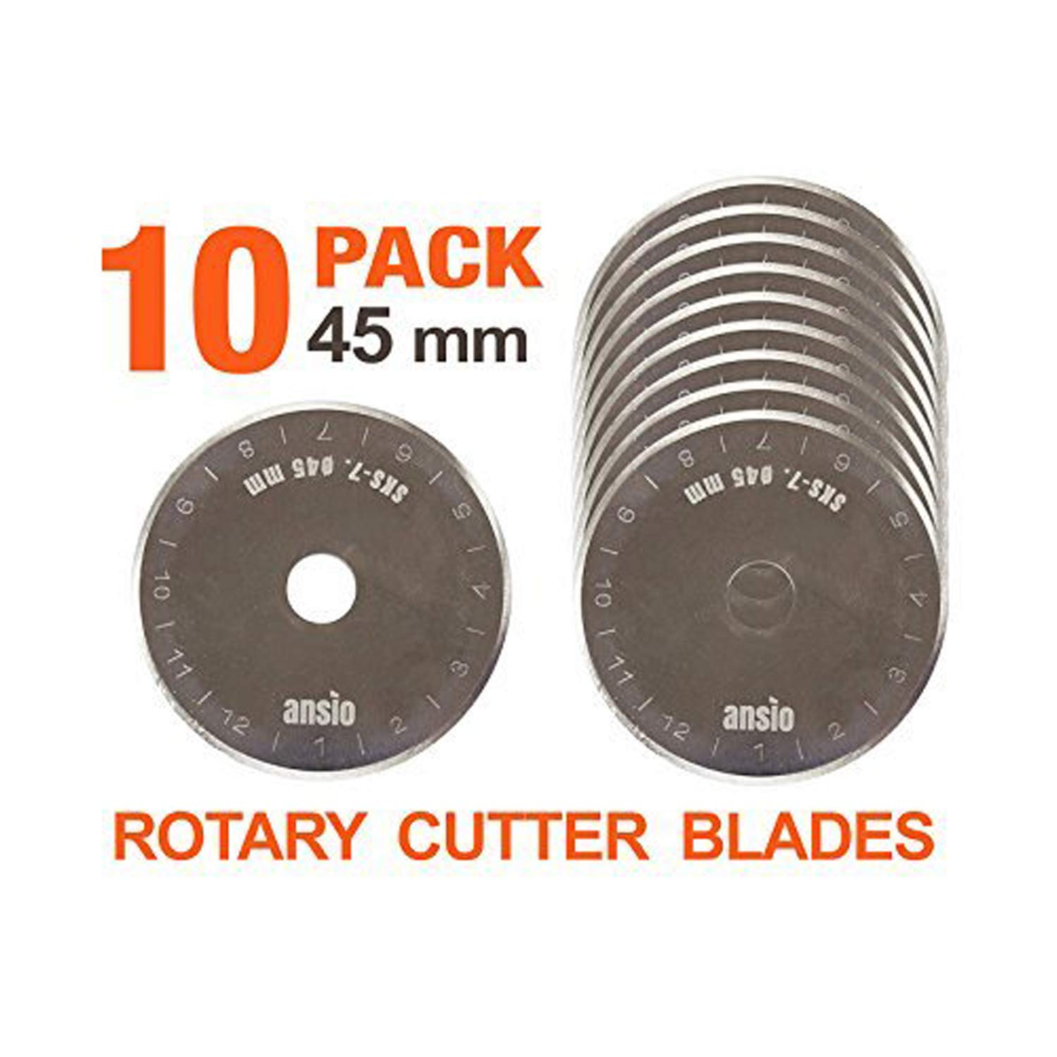 10 Rotary Cutter Spare Blades 45mm compatible with OLFA