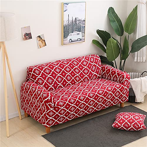 Geometrisches Design Wrapped Sofa Cover Plaid All-Inclusive Möbel Schonbezug L-Style Sofa Case Loveseat Protector Couch Cover A18 3 Sitzer