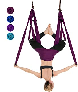 iphonepassteCK Aerial Yoga Hammock Aerial Yoga Swing Set/Trapeze/Sling Kit for Antigravity Yoga, Inversion Exercises, Improved Flexibility - Extension Straps and Carabiners Included