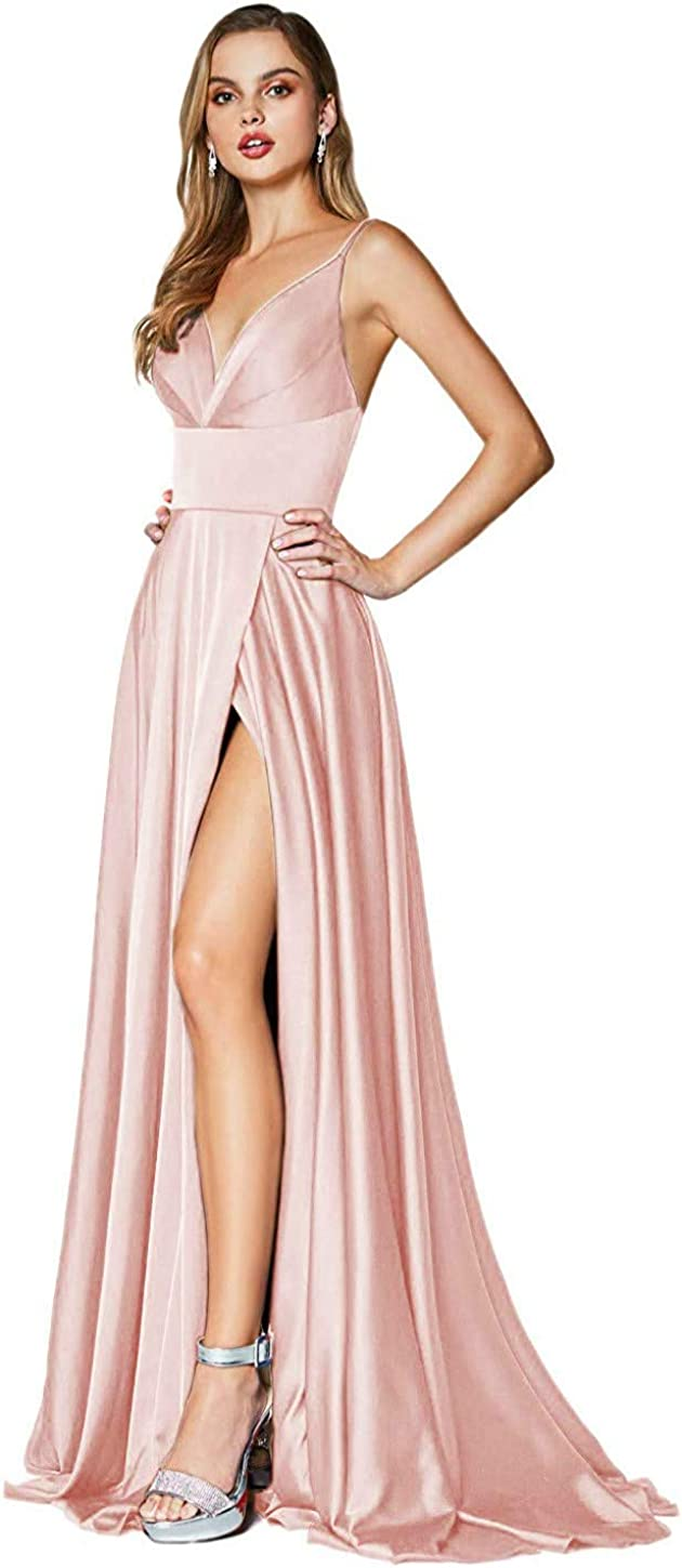 Clothfun Women's Spaghetti Straps Satin Prom Dresses Long V-Neck Formal Evening Gowns with Pockets 2021